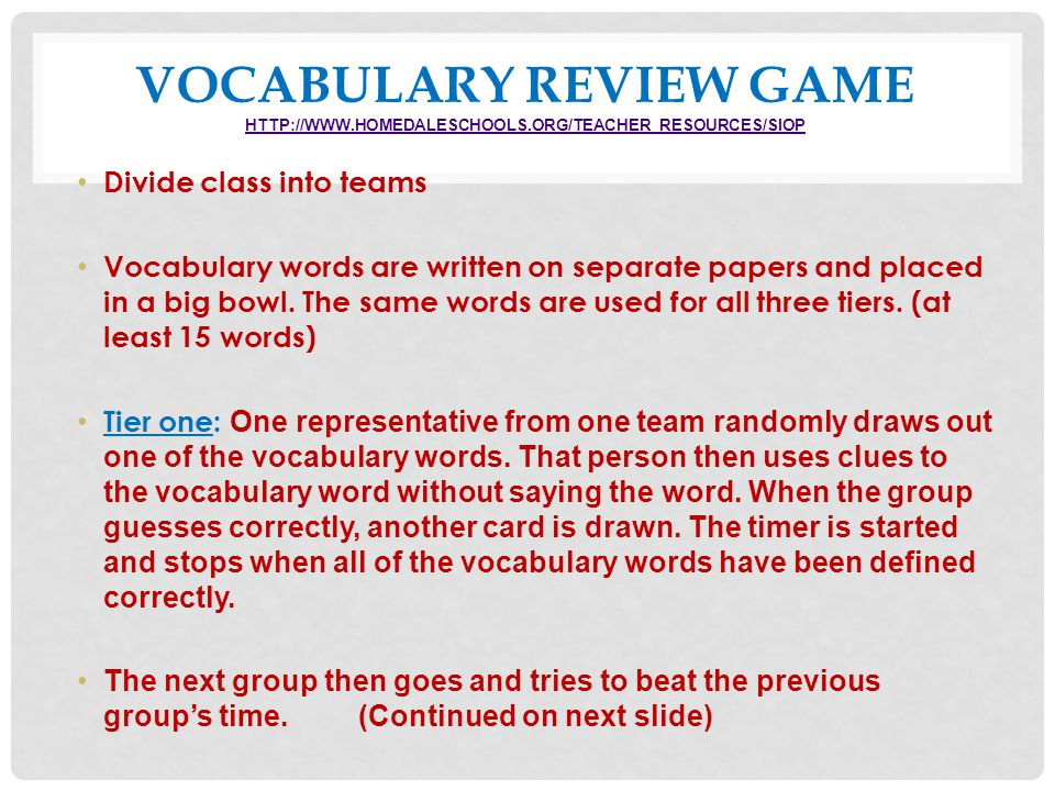 Vocabulary Review Game http://www. homedaleschools