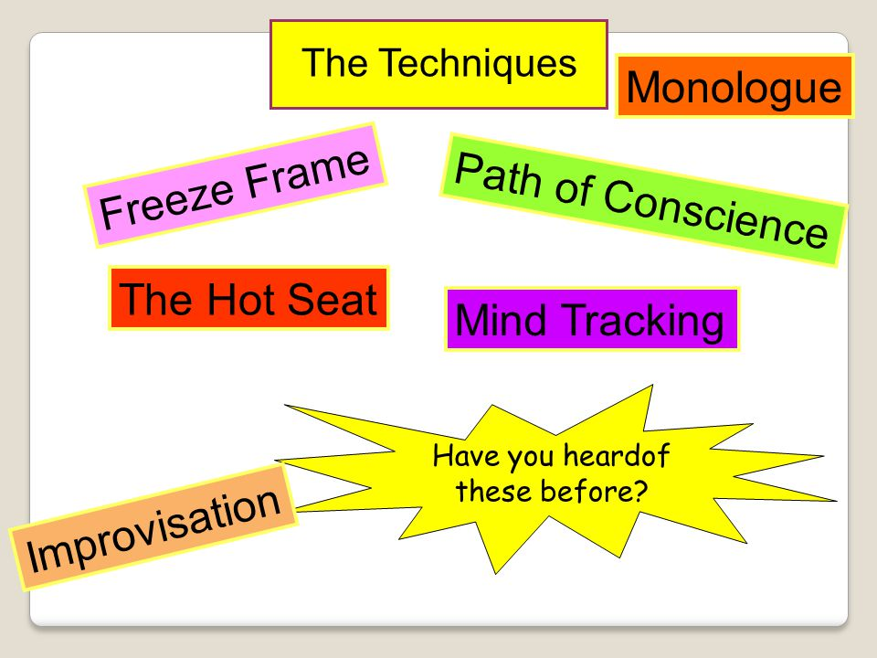 Monologue Freeze Frame Path of Conscience The Hot Seat Mind Tracking