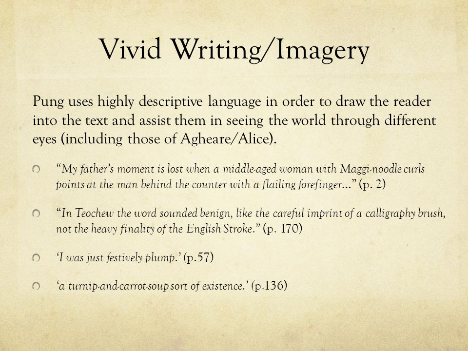 Vivid Writing/Imagery