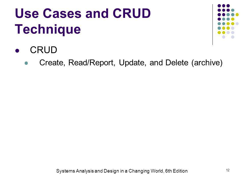 Use Cases and CRUD Technique