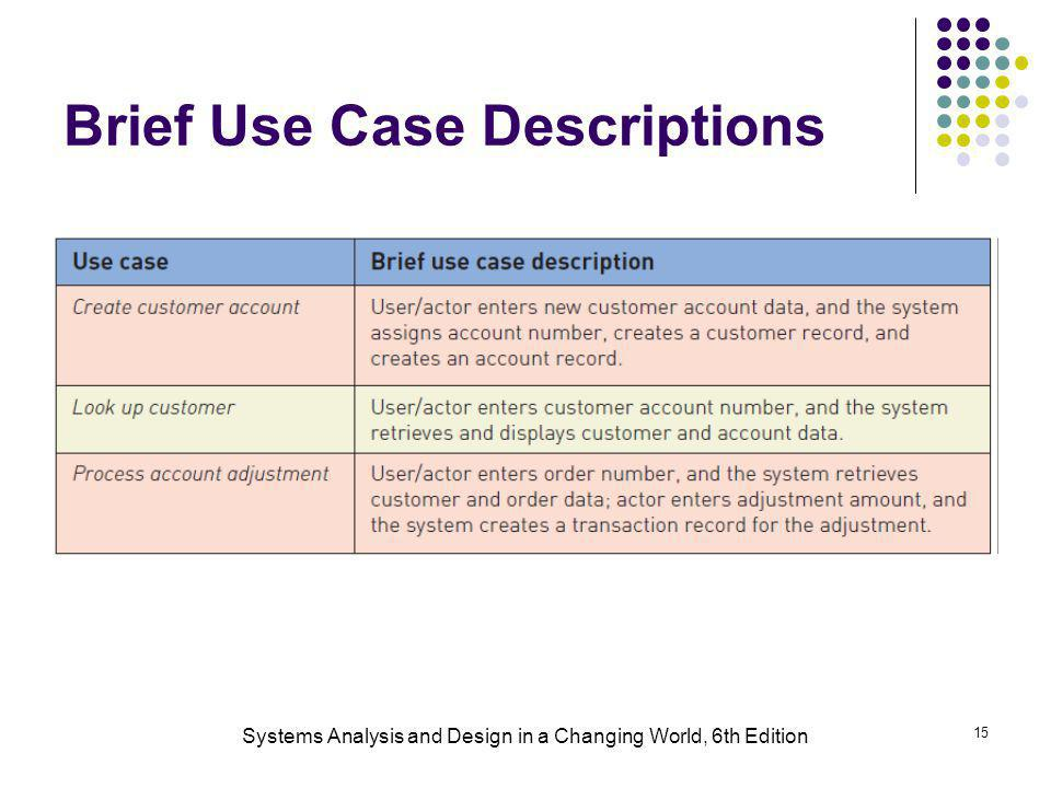 Brief Use Case Descriptions