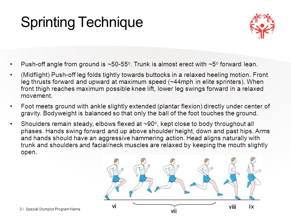 Sprinting Technique Push-off angle from ground is ~50-55o. Trunk is almost erect with ~5o forward lean.