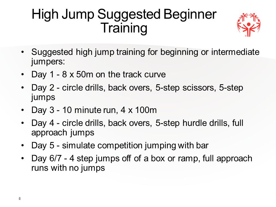 High Jump Suggested Beginner Training