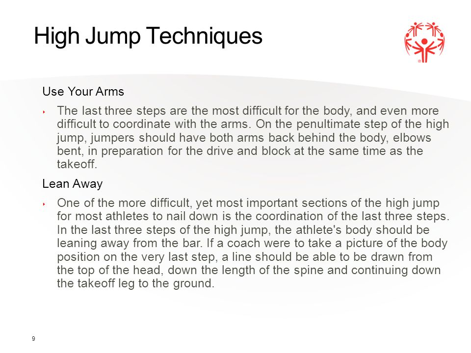 High Jump Techniques Use Your Arms
