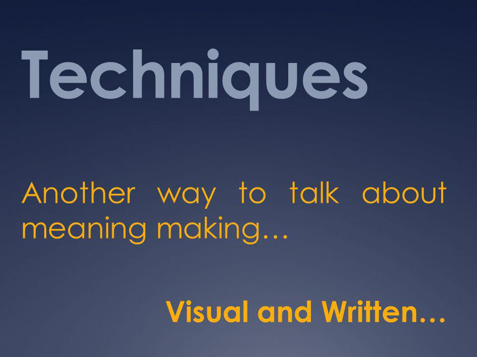 Another way to talk about meaning making… Visual and Written…