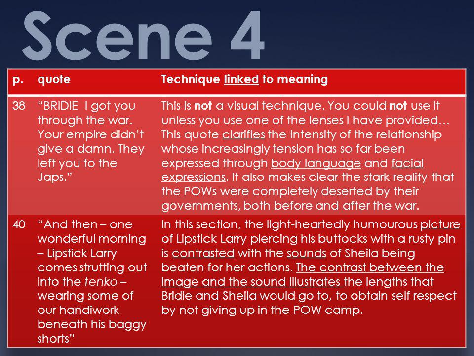 Scene 4 p. quote Technique linked to meaning 38