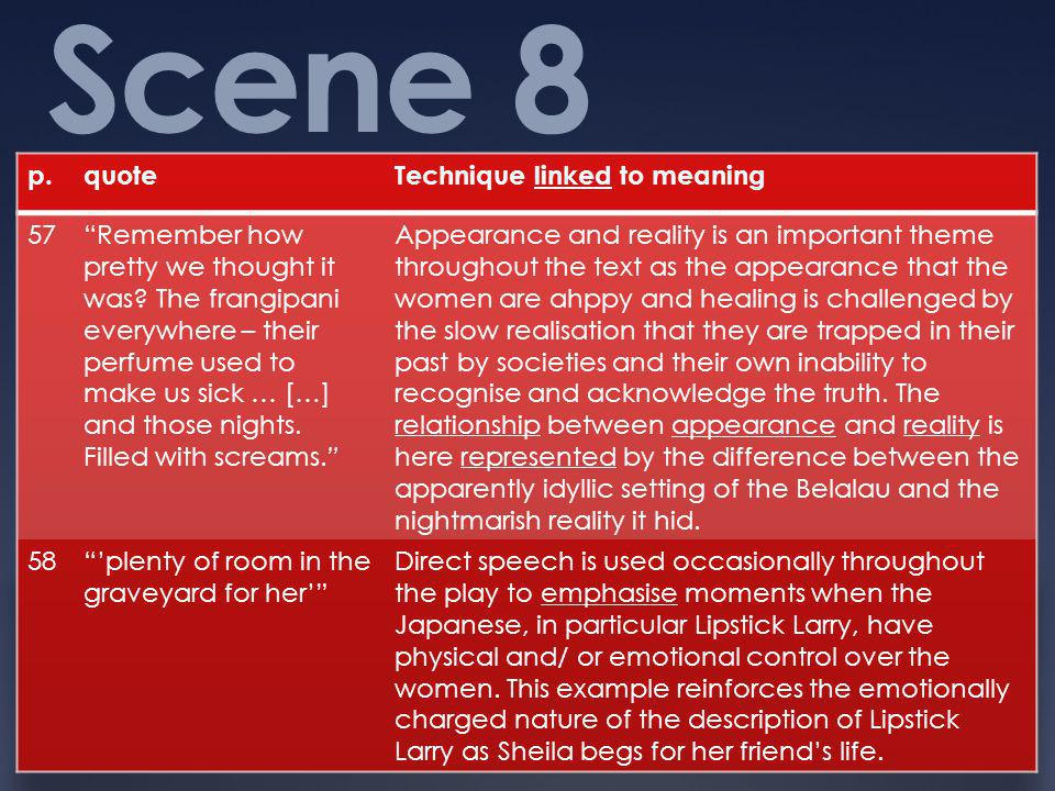 Scene 8 p. quote Technique linked to meaning 57