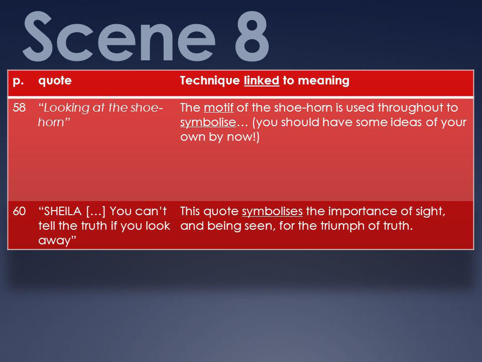 Scene 8 p. quote Technique linked to meaning 58