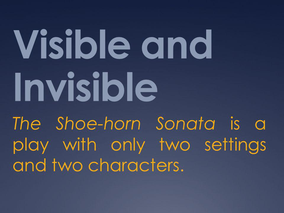 Visible and Invisible The Shoe-horn Sonata is a play with only two settings and two characters.