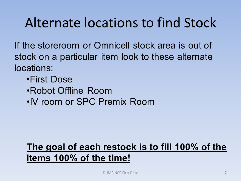 Alternate locations to find Stock