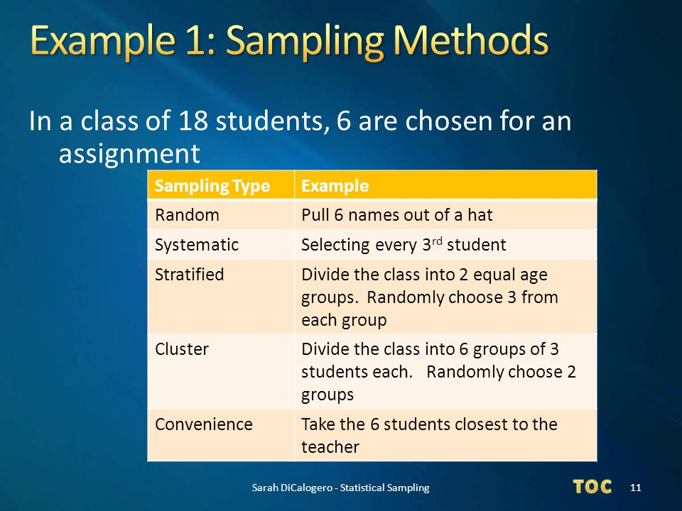 Example 1: Sampling Methods