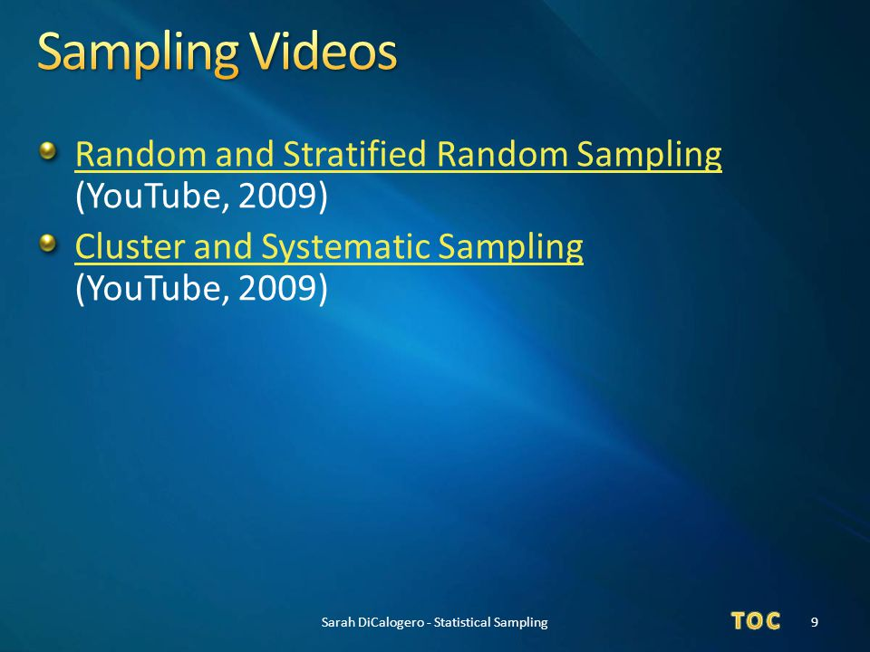 Sarah DiCalogero - Statistical Sampling