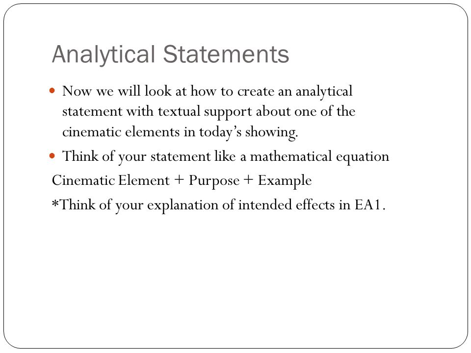 Analytical Statements