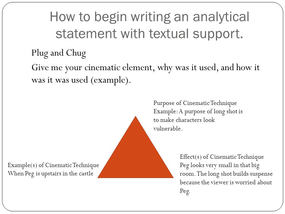 How to begin writing an analytical statement with textual support.