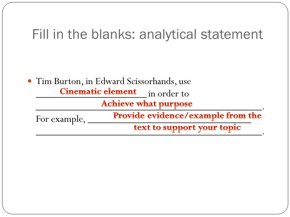 Fill in the blanks: analytical statement