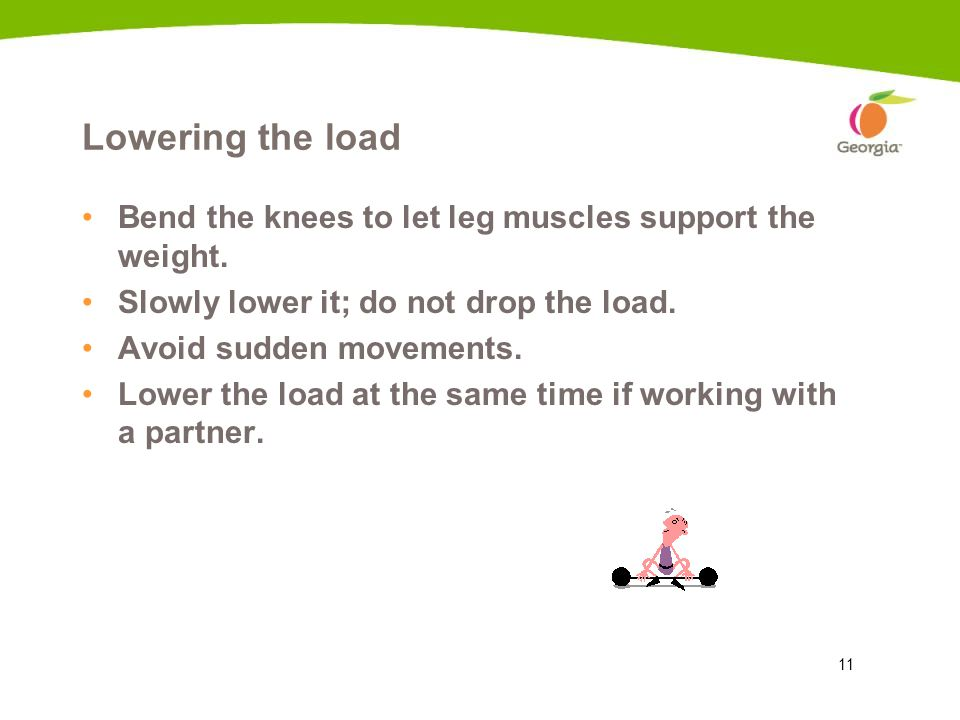 Lowering the load Bend the knees to let leg muscles support the weight. Slowly lower it; do not drop the load.