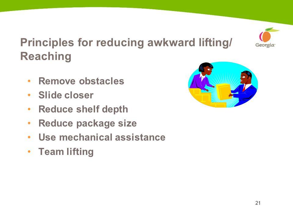 Principles for reducing awkward lifting/ Reaching