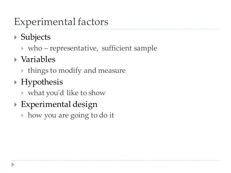Experimental factors Subjects Variables Hypothesis Experimental design