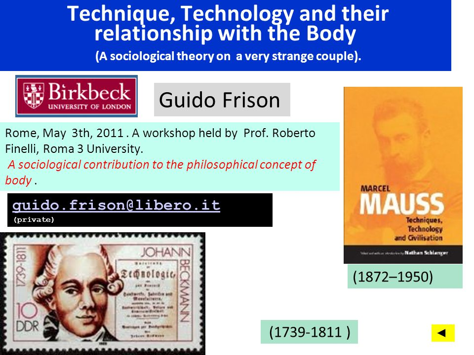 Technique, Technology and their relationship with the Body (A sociological theory on a very strange couple).