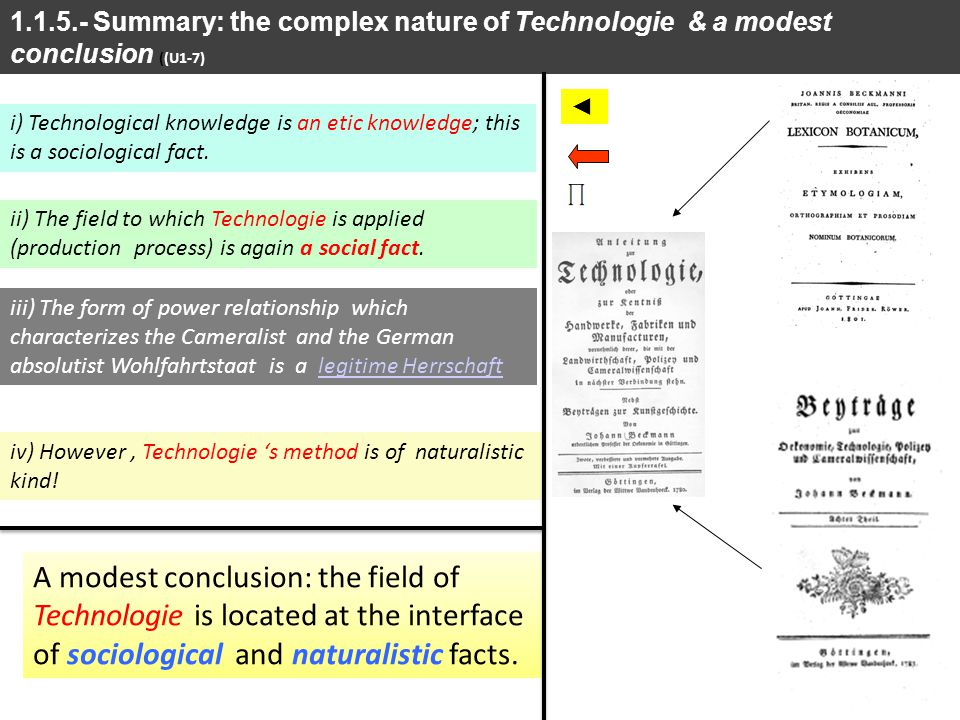 1.1.5.- Summary: the complex nature of Technologie & a modest conclusion ((U1-7)