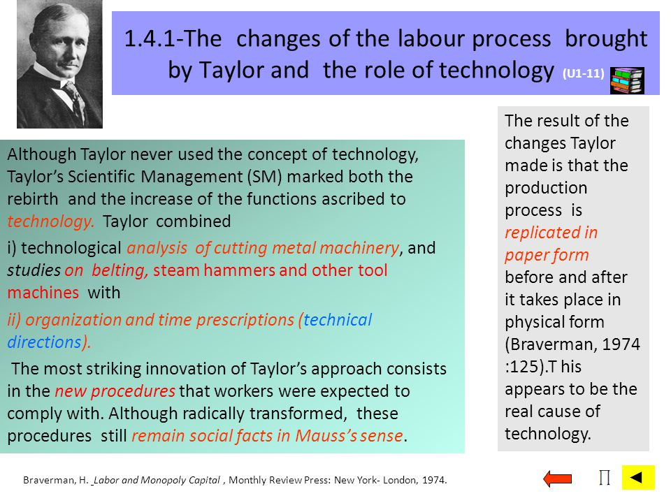 1.4.1-The changes of the labour process brought by Taylor and the role of technology (U1-11)