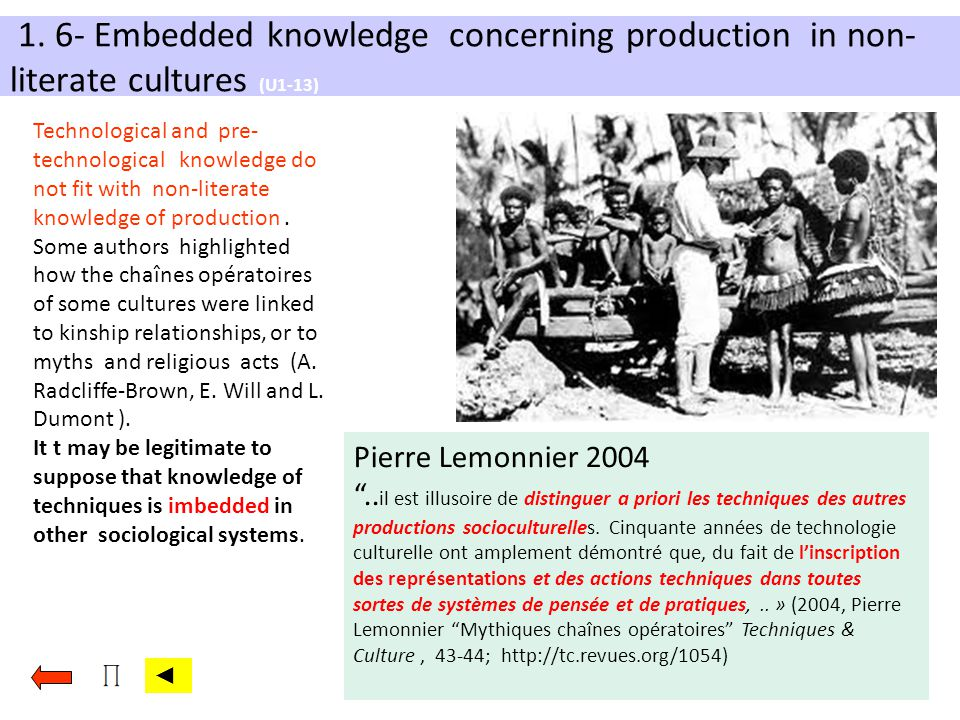 1. 6- Embedded knowledge concerning production in non- literate cultures (U1-13)
