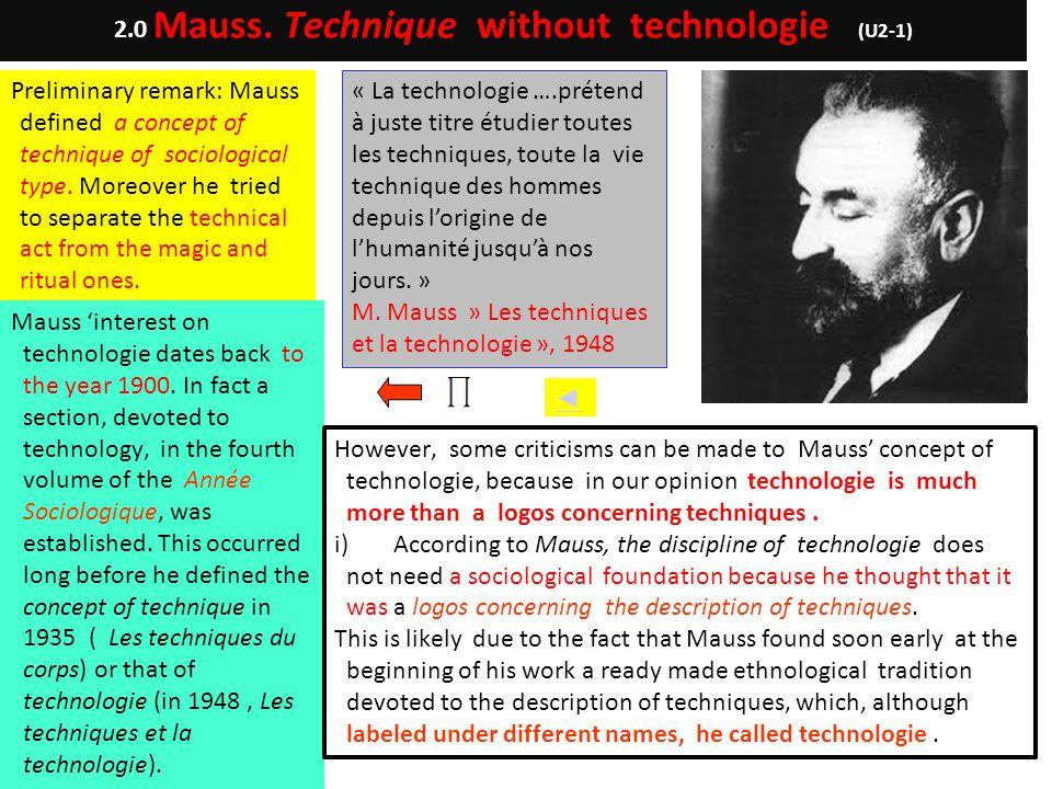 2.0 Mauss. Technique without technologie (U2-1)