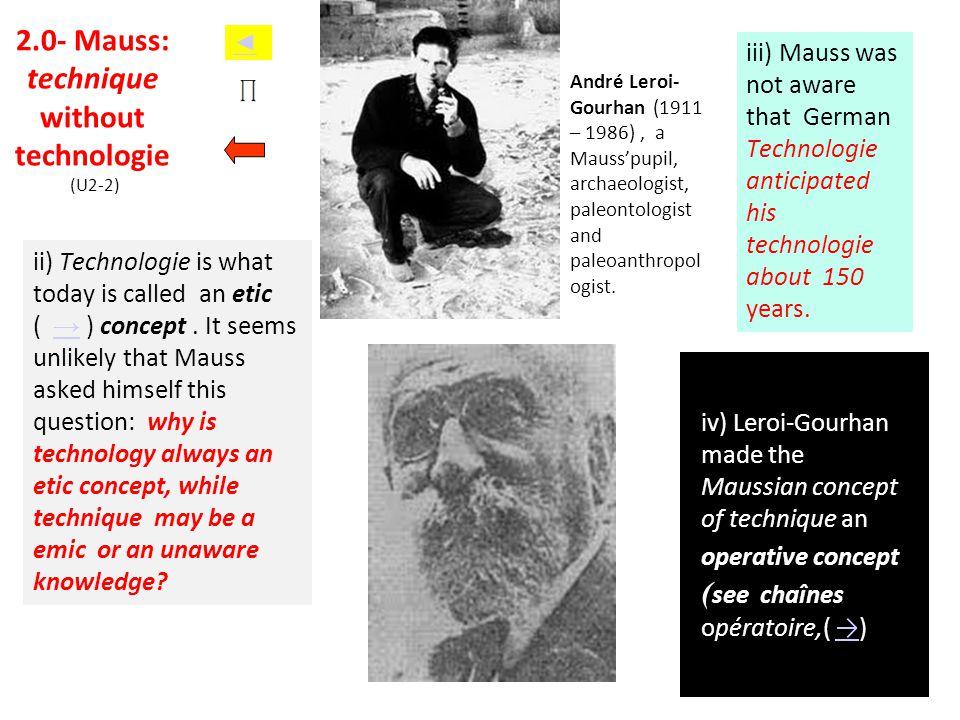 2.0- Mauss: technique without technologie (U2-2)