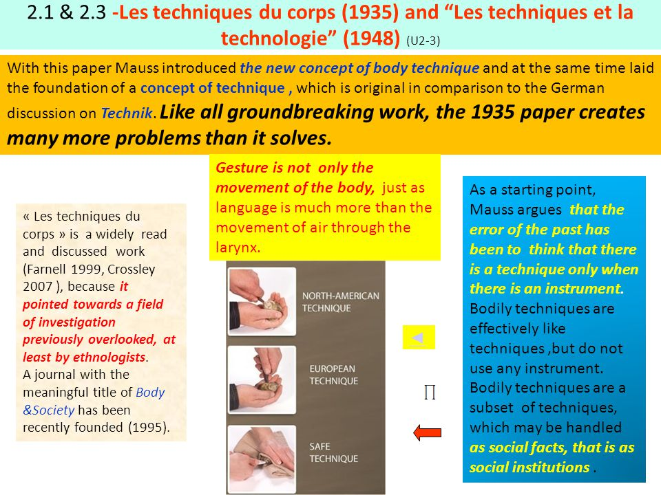 2.1 & 2.3 -Les techniques du corps (1935) and Les techniques et la technologie (1948) (U2-3)