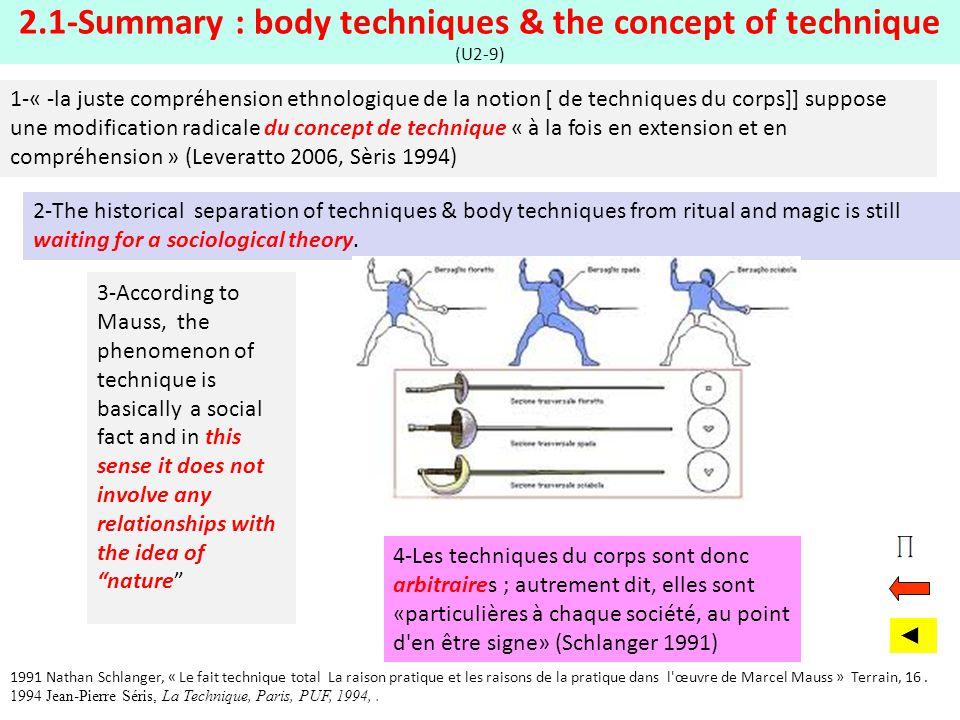2.1-Summary : body techniques & the concept of technique (U2-9)
