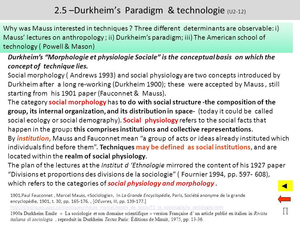 2.5 –Durkheim's Paradigm & technologie (U2-12)