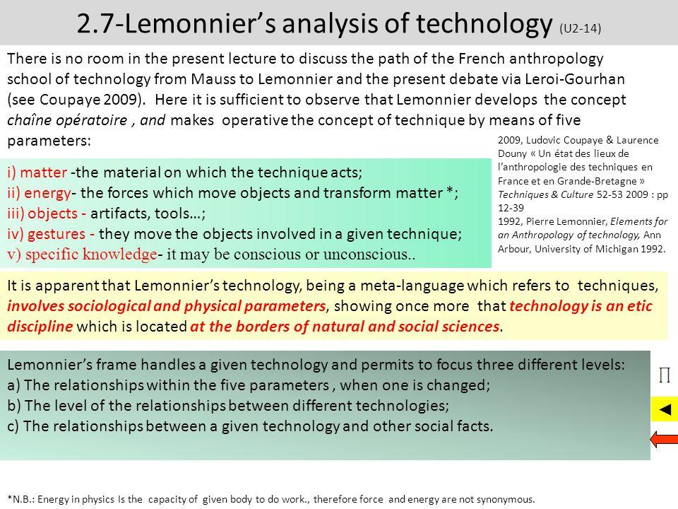 2.7-Lemonnier's analysis of technology (U2-14)