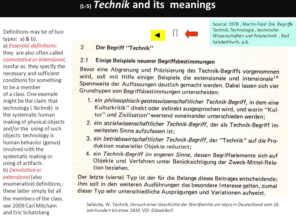 (L-5) Technik and its meanings