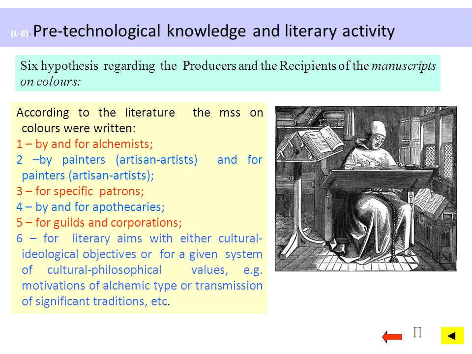 (L-8)- Pre-technological knowledge and literary activity