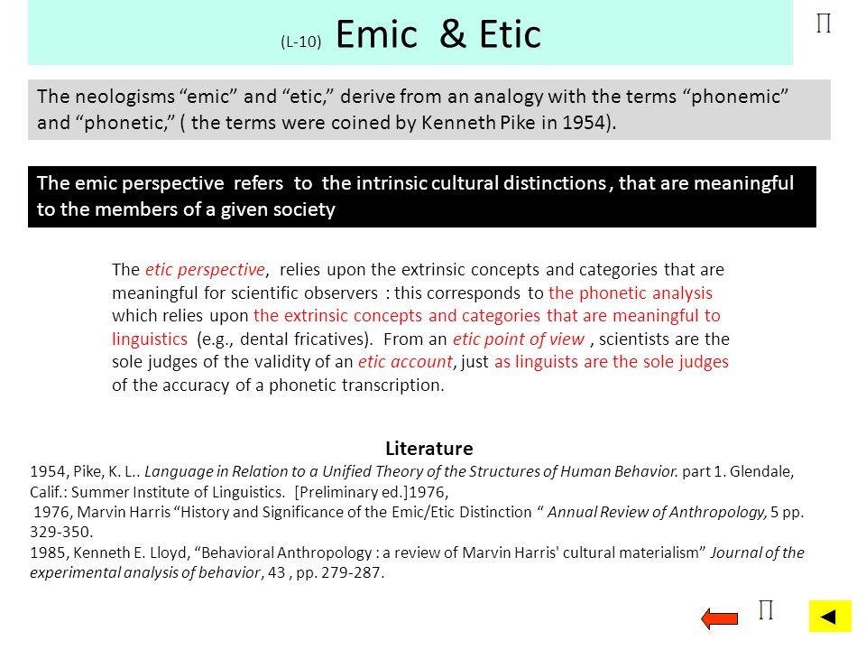 (L-10) Emic & Etic