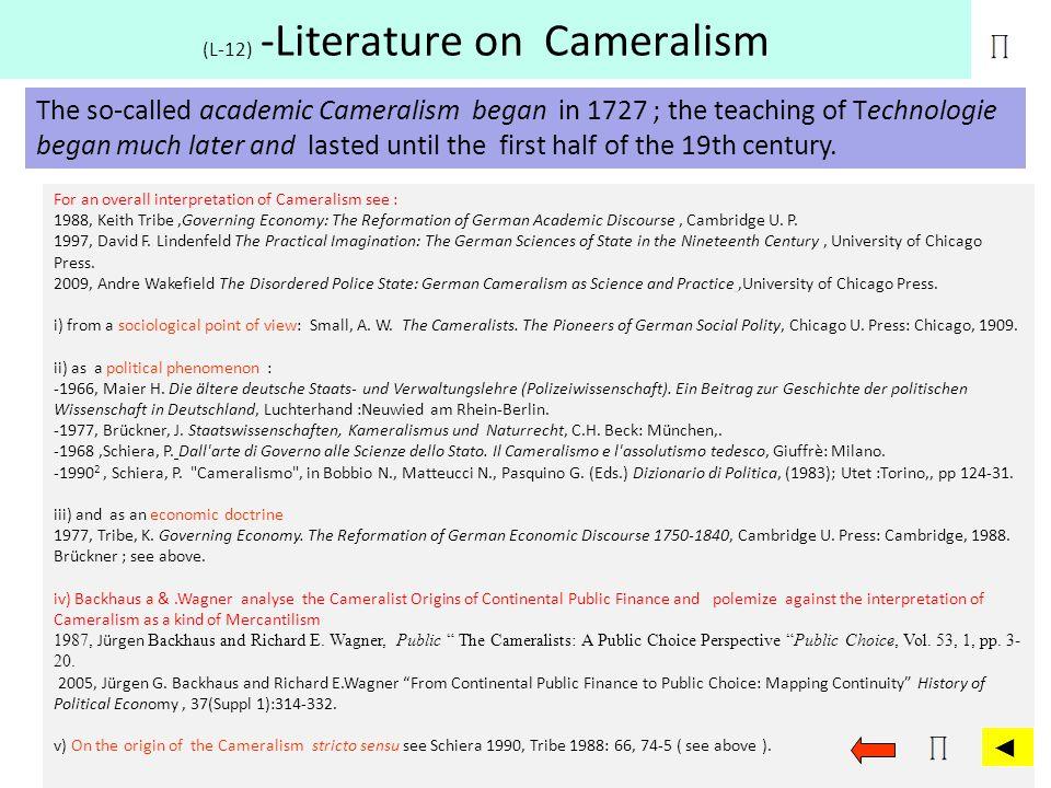 (L-12) -Literature on Cameralism