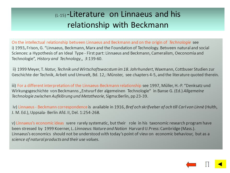 (L-15) -Literature on Linnaeus and his relationship with Beckmann