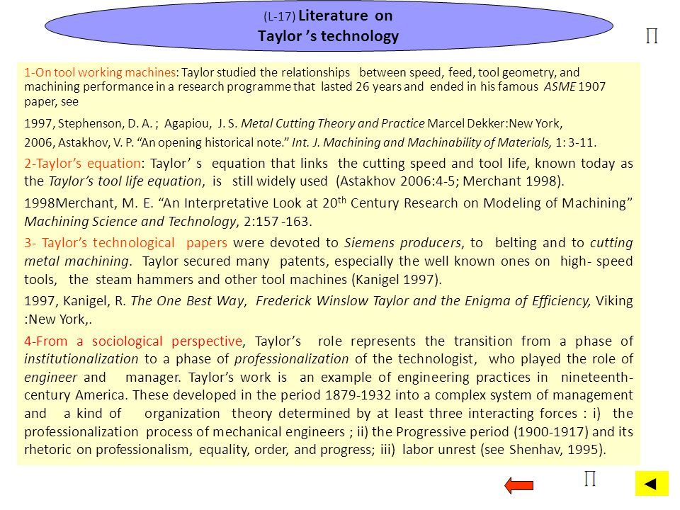 (L-17) Literature on Taylor 's technology