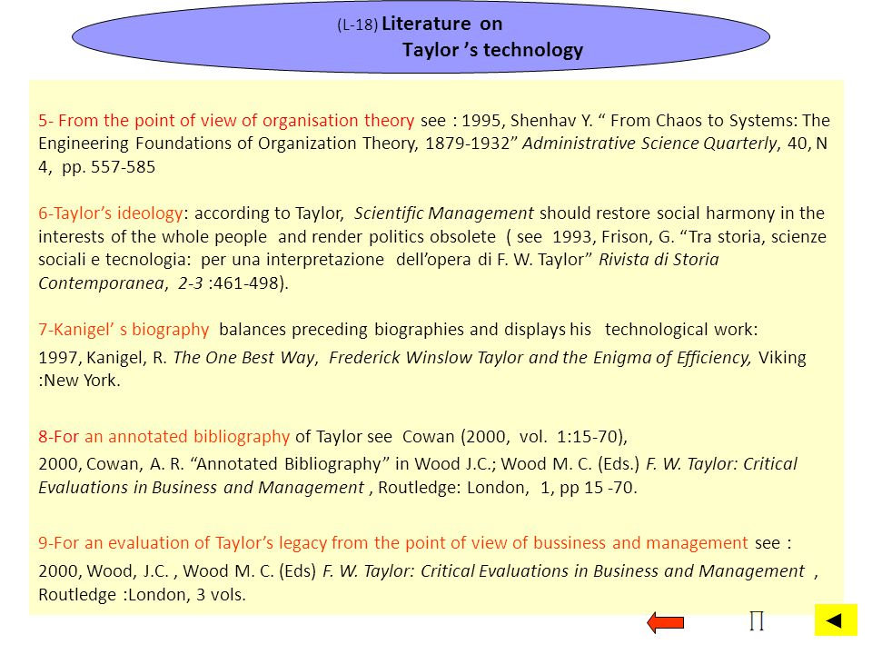 (L-18) Literature on Taylor 's technology