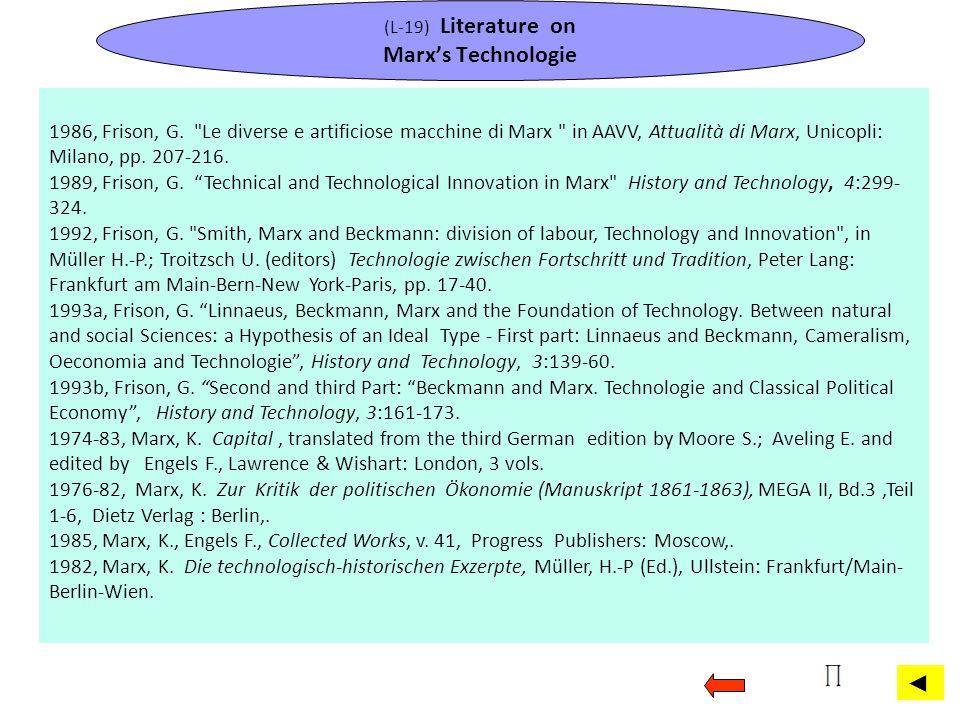 (L-19) Literature on Marx's Technologie