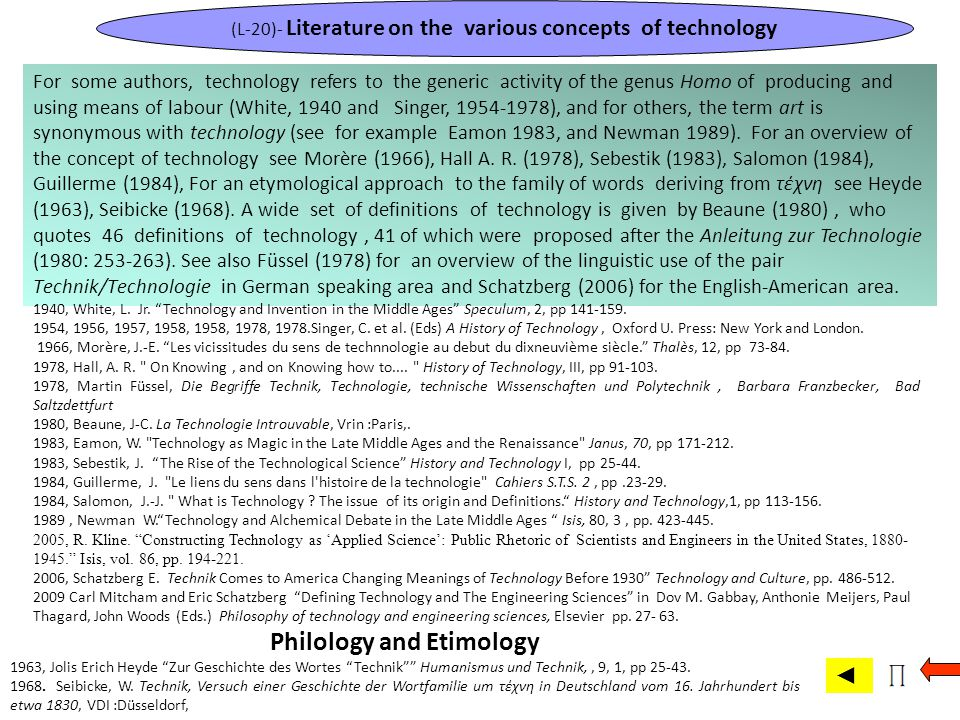 (L-20)- Literature on the various concepts of technology