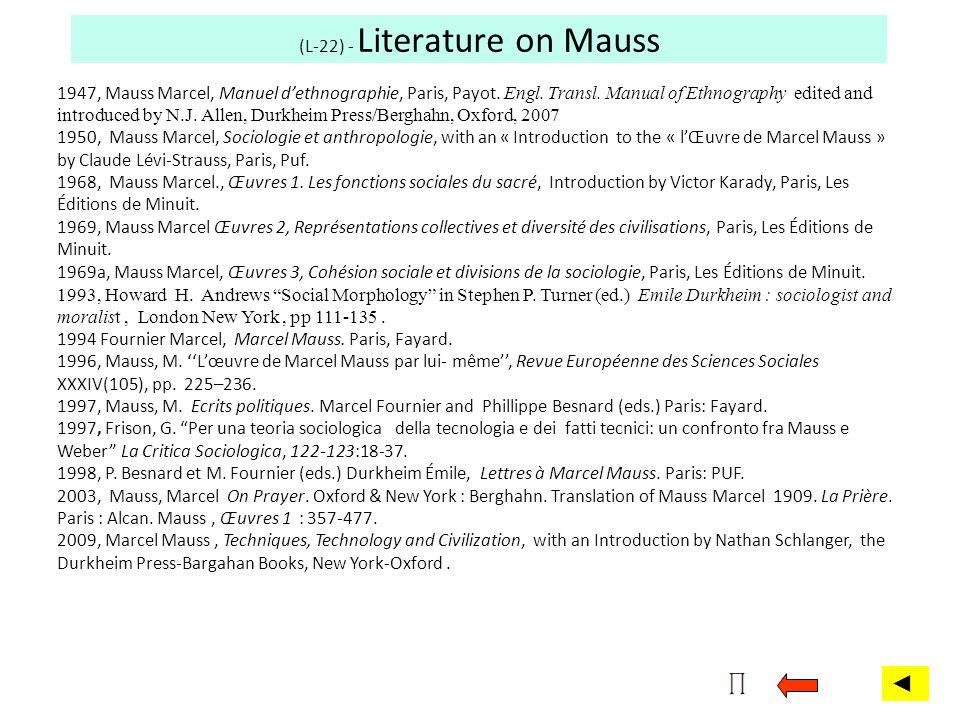 (L-22) - Literature on Mauss