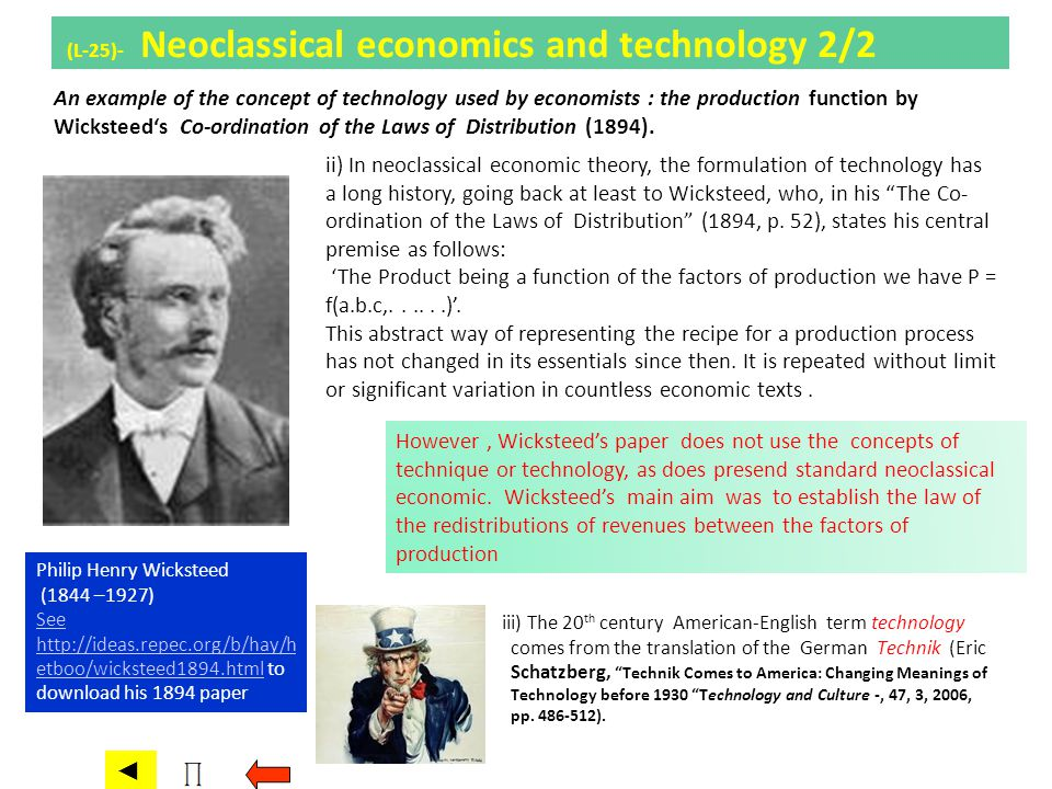 (L-25)- Neoclassical economics and technology 2/2