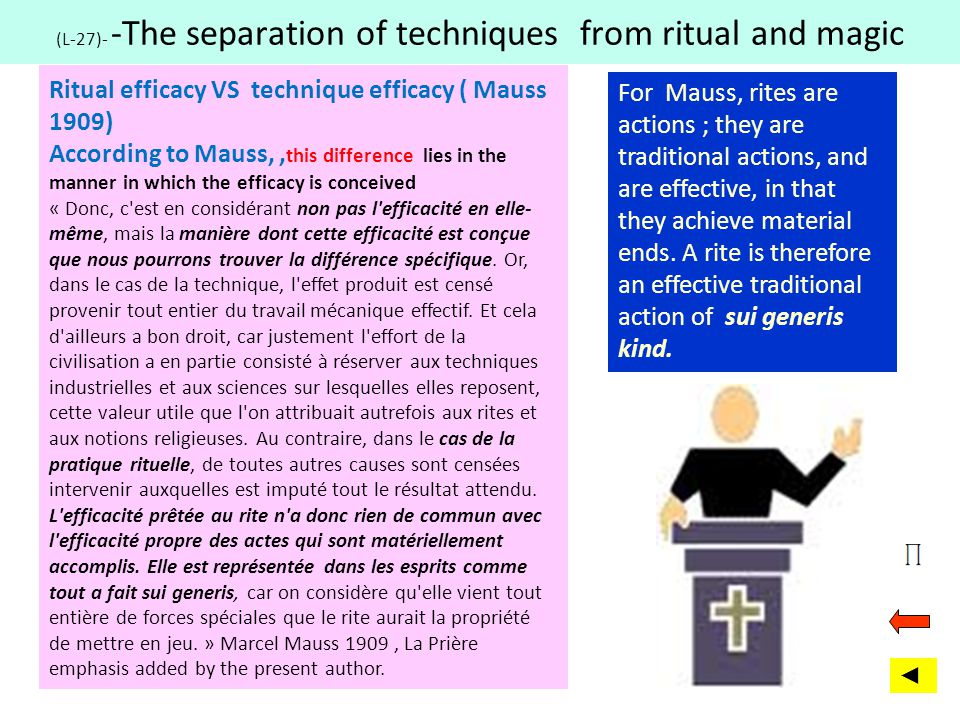 (L-27)- -The separation of techniques from ritual and magic