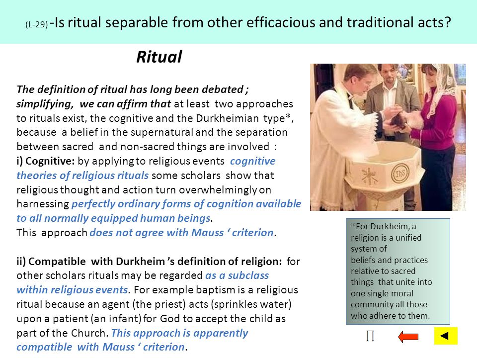 (L-29) -Is ritual separable from other efficacious and traditional acts