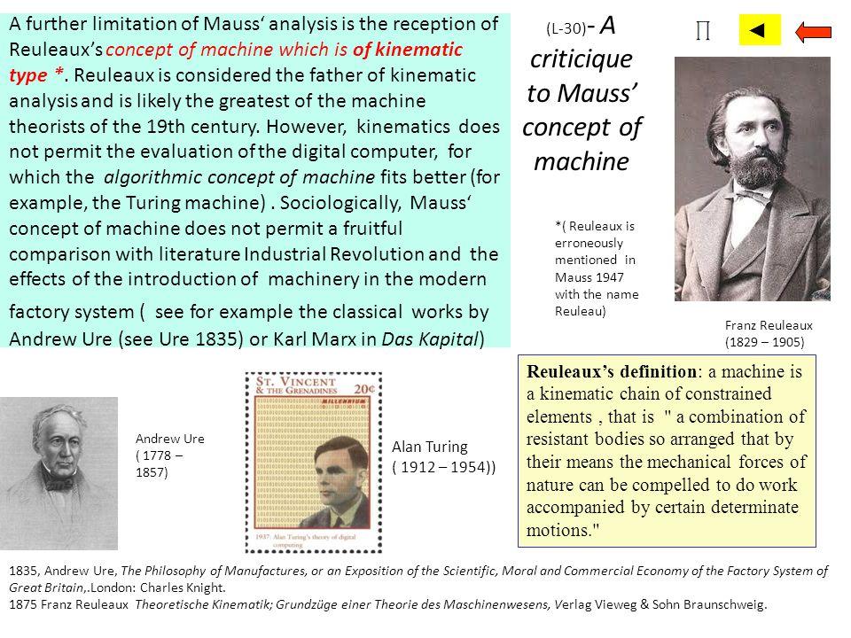 (L-30)- A criticique to Mauss' concept of machine
