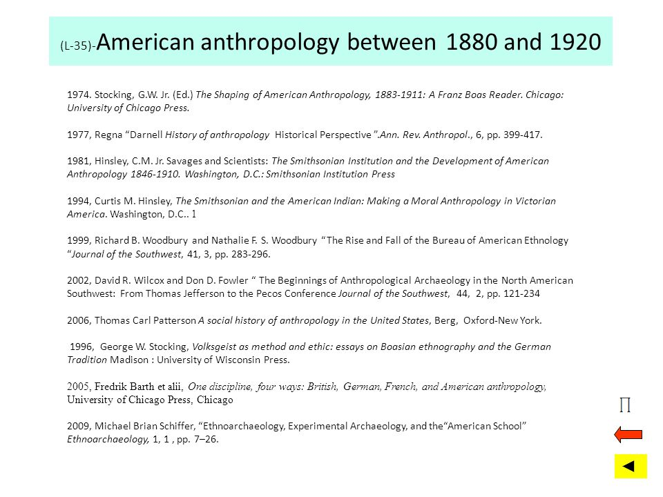 (L-35)-American anthropology between 1880 and 1920