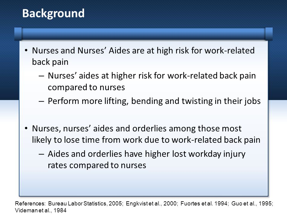 Background Nurses and Nurses' Aides are at high risk for work-related back pain.