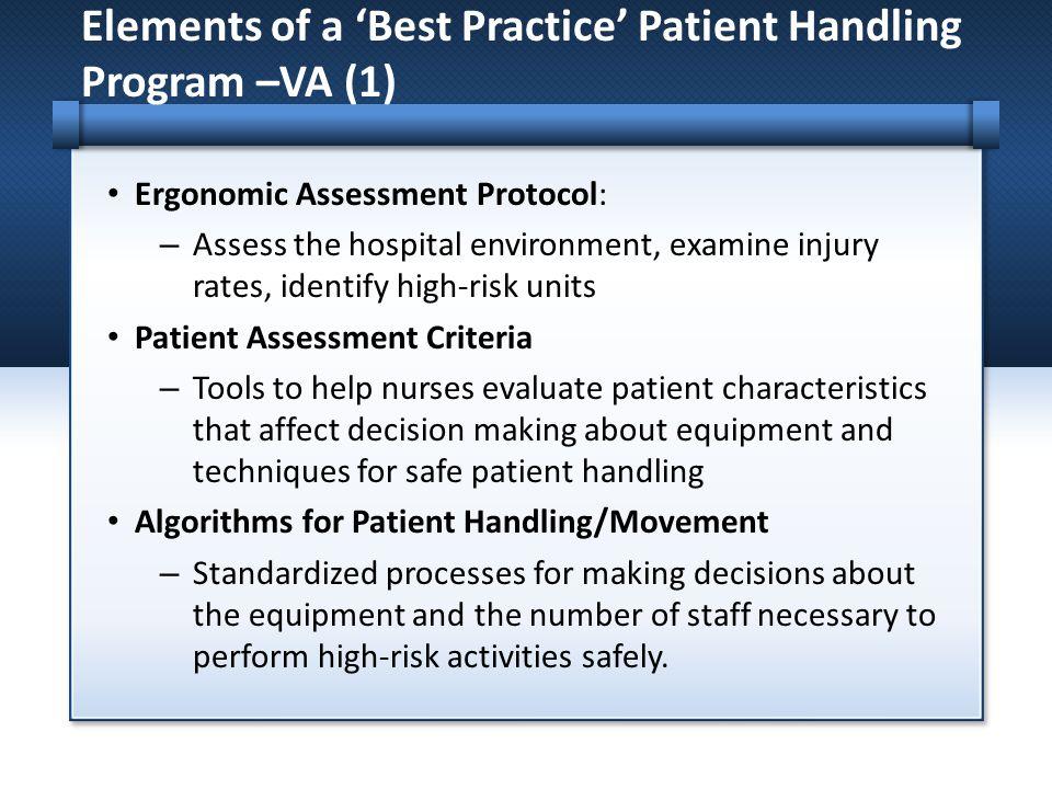 Elements of a 'Best Practice' Patient Handling Program –VA (1)