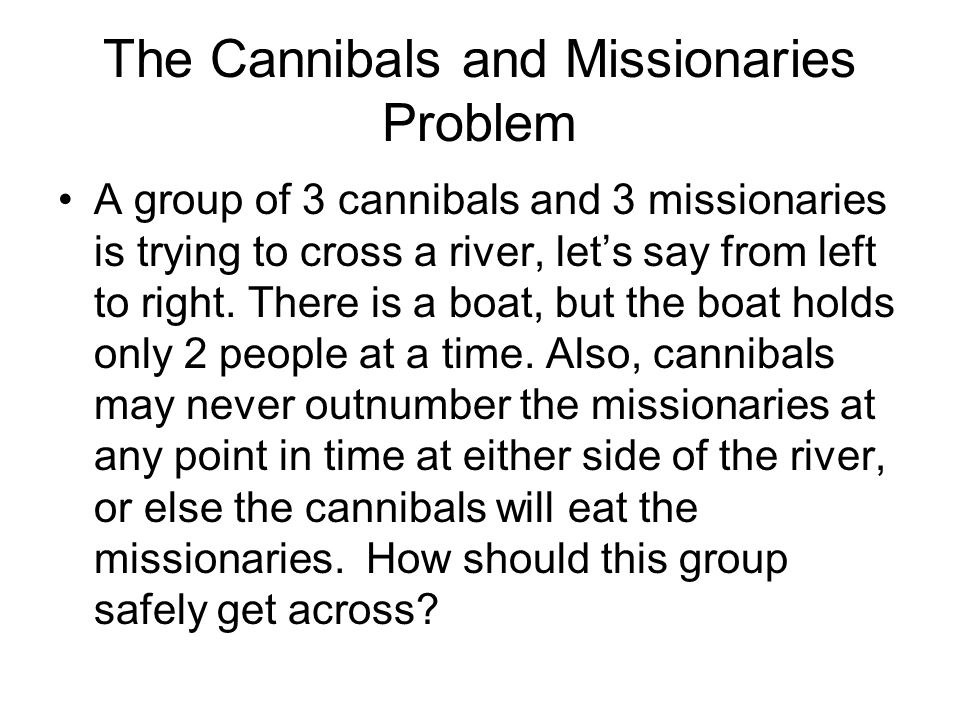 The Cannibals and Missionaries Problem